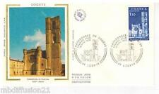 1976//ENVELOPPE SOIE**FDC 1°JOUR**CATHEDRALE DE LODEVE**TIMBRE Yt.1902