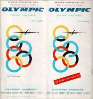 OLYMPIC AIRWAYS TIMETABLE SUMMER 1965 OA 2ND EDITION