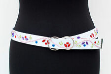 Enfant Blanc Sangle/Toile Ceinture Avec Couleur Strass + Perles - 5 ceintures