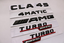 black CLA45 +AMG + 4 MATIC + TURBO Trunk Emblem Badge Sticker for Mercedes Benz