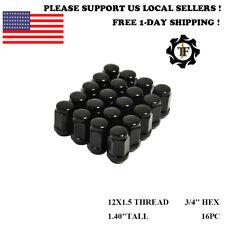 20PC 12X1.5 FOR CHEVROLET BLACK CONICAL SEAT BULGE ACORN WHEEL LUG NUT CHEVY