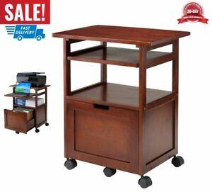 carro de impresora rodante cajón estante soporte de almacenamiento oficina nuez