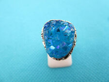 925 Sterling Silver Ring With Blue Titanium Druzy UK L 1/2, US 6 (rg2589)