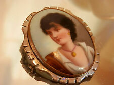 Rare Hand Painted Fisher Porcelain Neapolitan Cameo Brooch Vintage 1800's 258my7