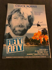1989 Trade Poster/MOVIE PRINT Ad 10X13 CHUCK NORRIS FIFTY/FIFTY HERO AND TERROR