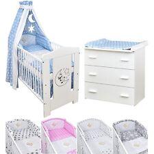 Babyzimmer Babybett Kinderbett Mond & Teddy Wickelkommode Weiß Bettset komplett