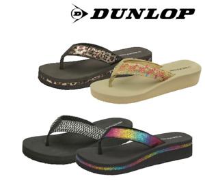 Ladies Dunlop Low Wedge Heel Lightweight Summer Sandals Flip Flops Toe Post