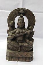ANTIQUE WOODEN PANEL STATUE OF HINDU GODDESS SARASWATHI TEMPLE  WORK GARDEN ART