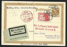 Austria covers 1927 EARLY Airmail PPC/Beethoven Vienna to Breslau