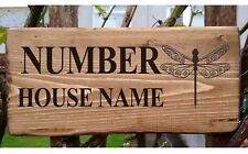 Personalised Dragonfly Sign Plaque House Cottage Garden Name Door Plate Home