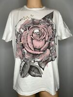 "All Saints Mens TShirt M Medium White Vintage Graphic Tee 21"" Top Skull Rose"