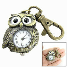 New Beautiful White Dial Bronze Tone Night Owl Shape Keyring Watch DT