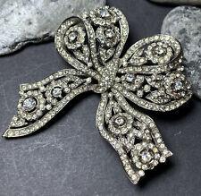 Huge Vintage Art Deco Bow Brooch Clear Crystal Paste c1940
