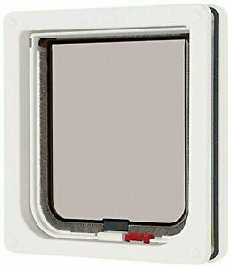 Cat Mate Lockable Cat Flap - White Magnetic Cat Door, For Medium Sized Cats