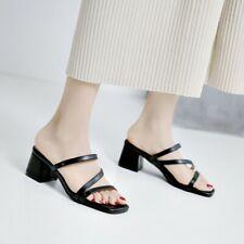 US 4.5-8 Women's Peep Toe Mules Block Mid Heel Sandals Slippers Casual Shoes