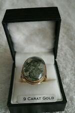 LARGE 9ct GOLD MOSS AGATE RING, FULLY HALLMARKED 8.4 grams.
