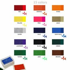 15 Colorful Oil Based Rubber Stamp DIY Craft Ink Pad Finger Print Wood Fabric