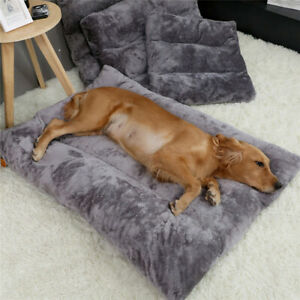 Pet Dog Mattress Soft Flannel Beds Mat Pets Cushions For Medium Large Dogs Gray
