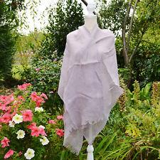 ETole Foulard Echarpe Femme gris 100% LIN naturel linum  ZAZA2CATS new