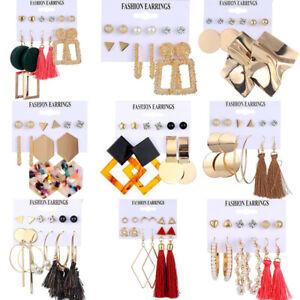 Vintage Fashion Tassel Earrings Set Women Bohemian Acrylic Hoop Stud Drop Dangle