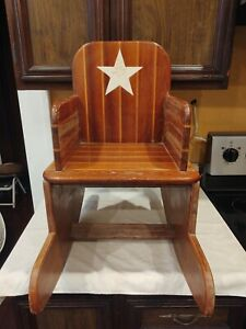 Vintage Child's Rocking Chair Two Tone Writing on chair Wood Hand Made Dusty