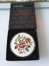 Vintage Stratton Cosmetic Powder Compact with Enamel Flowers Boxed Free post