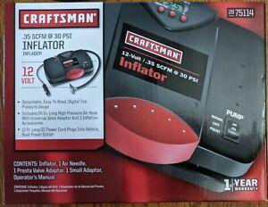 NIB Craftsman 75114 12V Portable Inflator Pump with a Pressure Gauge