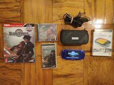 PSP Playstation Portable System Blue w/Blade Dancer + Guide + CD & Media Manager