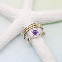 Amethyst lila rund gold Drehring Design Ring Ø 19,25 mm 925 Sterling Silber neu