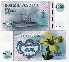 Alboran Island 2000 pesetas 2014 UNC Ship Flower Spain Private Issue
