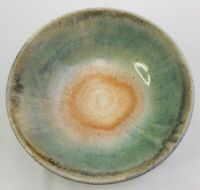 "Hand Thrown Drip Glaze Pottery Bowl Planter Signed 9"" Orange Brown Teal"
