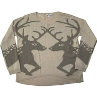 Bar III Sweater Scoop Neck Long Sleeve Deer Print Reindeer Knit Size L Large