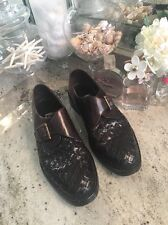 Bragano Brown Woven Leather Single Monk Strap Dress Shoes 11 D  Italy
