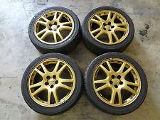 "JDM Subaru WRX STi 02-05 Version 8 OEM Wheels Gold 17"" 5x100 Gold Rims GDB GDA"