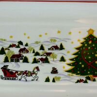 Fine Porcelain Christmas Serving Plate Ornament Tree Holiday Trinket Lolly Tray