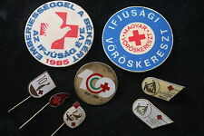 Hungary Hungarian Badge Red Cross Blood Donor pin Lot 8 Button Donation badge
