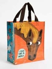 "Eat a Horse Blue-Q Handy Tote New Re-Usable Bag 10""h x 8.5""w x 4.5""D Fashion"