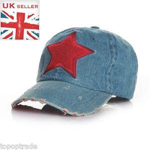 Sport jean brushed Star kids baseball sunhat cap RED STAR