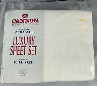 Vintage Cannon Luxury Sheet Set 4 piece Full Size New in pkg No Iron Percale USA