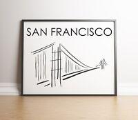 San Francisco Minimalist Art Print, Golden Gate Art, San Francisco Gift
