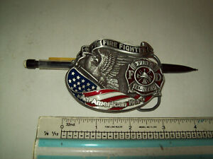 belt buckle fire fighter eagle and flag pewter great american buckle company