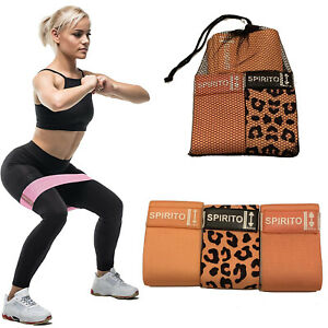 Leopard Fabric Resistance Booty Bands Loop Set of 3 Exercise Workout Gym Fitness