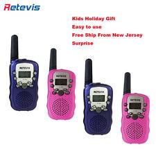 4pcs Retevis T-388 Blue/Pink Kids Walkie Talkie Uhf Lcd+Flashlight 2-Way Radio