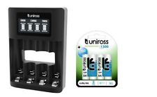 UNiROSS SMART FAST 3-5 HR LCD CHARGER+ 4 x AA 1300 UNiROSS BATTERIES-MICRO USB