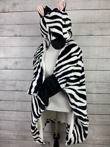 Zebra Hooded Blanket 40 x 50 Black White Pillowfort Hand Pockets Plush Head Cute