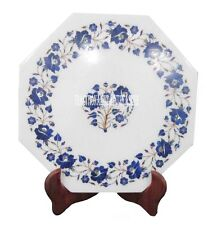 """12"""" White Marble Serving Plate Lapis Lazuli Inlay Floral Marquetry Art Decor"""