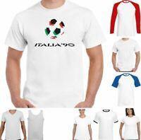Italia 90 Football T-Shirt Retro 1990 World Cup Retro Top Logo Kit Italy