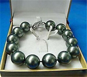 Charming 12mm Black South Sea Shell Pearl Round Beads Bracelet 7.5'' AAA