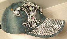 Fleur De Lis Baseball Cap Hat Jeweled Sexy Bling Adjustable denim