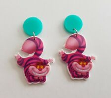 Cheshire Cat Alice in Wonderland shrink plastic dangle stud earrings kitsch aqua